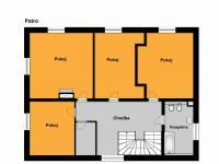 půdorys patro (Prodej domu v osobním vlastnictví 294 m², Březová-Oleško)