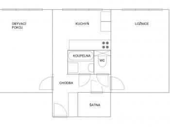půdorys bytu  - Pronájem bytu 2+1 v osobním vlastnictví 55 m², Roudnice nad Labem