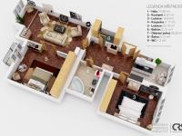 půdorys (Prodej bytu 3+1 v osobním vlastnictví 105 m², Praha 3 - Vinohrady)