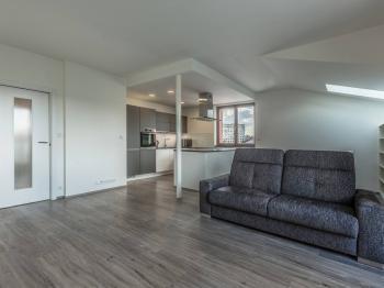 obývací pokoj - Prodej bytu 3+kk v osobním vlastnictví 97 m², Praha 9 - Kyje