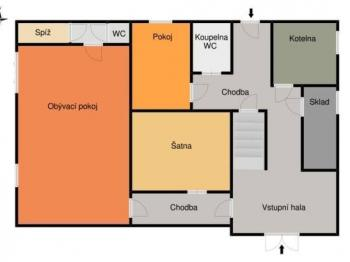 Přízemí - Prodej domu v osobním vlastnictví 260 m², Kozojedy
