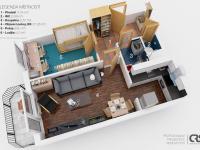 Plánek bytu (Prodej bytu 2+kk v družstevním vlastnictví 43 m², Praha 6 - Řepy)