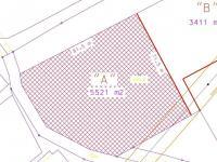 část pozemku určená k prodeji (Prodej pozemku 5521 m², Rudoltice)