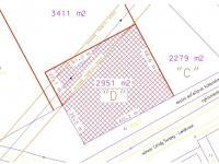 část pozemku určená k prodeji (Prodej pozemku 2951 m², Rudoltice)