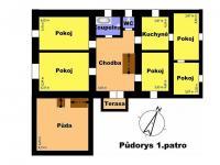 Půdorys 1. patro (Prodej domu v osobním vlastnictví 488 m², Opatovec)