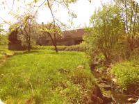 Pohled od druhého potoka ze spodu zahrady (Prodej historického objektu 80 m², Včelákov)