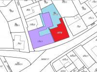 Katastrální mapa - pozemek pro zastavění označen červeně (Prodej nájemního domu 706 m², Lanškroun)