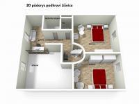 3D půdorys podkroví (Prodej domu v osobním vlastnictví 200 m², Líšnice)