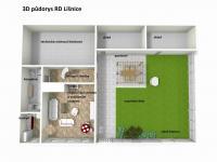 3D půdorys přízemí (Prodej domu v osobním vlastnictví 200 m², Líšnice)