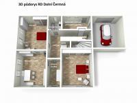 3D půdorys přízemí (Prodej domu v osobním vlastnictví 120 m², Dolní Čermná)
