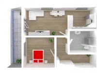 3D půdorys (Prodej bytu 2+kk v osobním vlastnictví 65 m², Olomouc)