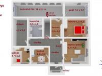 3D půdorys s rozměry (Prodej domu v osobním vlastnictví 112 m², Damníkov)