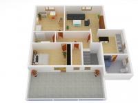 3D model podkroví (Prodej domu v osobním vlastnictví 175 m², Libchavy)