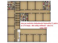 3D model nového bytového patra (Prodej komerčního objektu 1718 m², Ústí nad Orlicí)