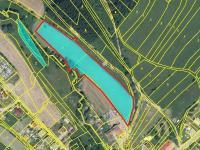 Prodej - červeně označená část (Prodej pozemku 9907 m², Lhota u Vsetína)