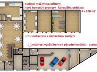 budoucí možný půdorys s přístavbou kuchyně pro restauraci a hotel a pro komerční kanceláře  (Prodej hotelu 1200 m², Ústí nad Orlicí)