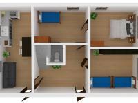 Vizualizace domu - přízemí (Prodej pozemku 2629 m², Lupenice)