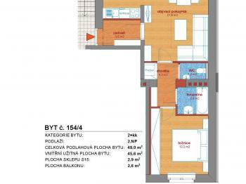 půdorys bytu - Prodej bytu 2+kk v osobním vlastnictví 49 m², Příbram