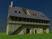 Konečná podoba sýpky - vizualizace (Prodej historického objektu 450 m², Blíževedly)
