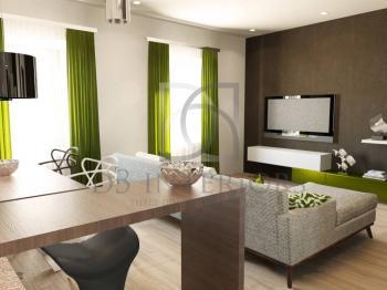 vizualizace - obývací pokoj - Prodej domu 138 m², Hrádek nad Nisou