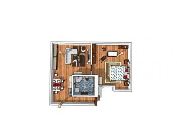 půdorys 1 - Prodej bytu 2+kk v osobním vlastnictví 71 m², Jablonné v Podještědí