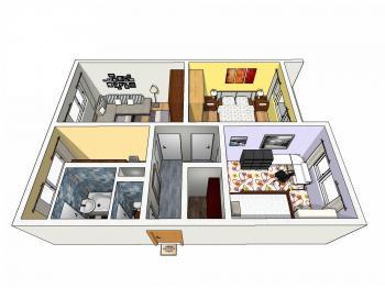 Půdorys - Prodej bytu 3+1 v osobním vlastnictví 63 m², Liberec