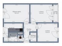 Půdorys s rozměry - Prodej bytu 3+1 v osobním vlastnictví 63 m², Liberec