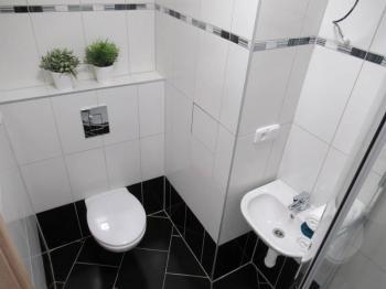 Pohled na koupelnu se sprchovým koutem a WC - Prodej bytu 2+1 v družstevním vlastnictví 53 m², Milevsko