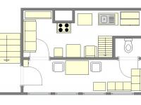 dispozice přízemí (Prodej chaty / chalupy 33 m², Cheb)