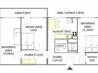 orientační plánek (Prodej bytu 3+1 v osobním vlastnictví 77 m², Pardubice)