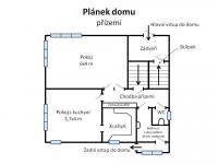 Orientační plánek dispozice přízemí domu. (Pronájem kancelářských prostor 220 m², Teplice)