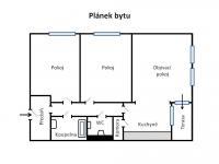 Orientační lánek dispozice bytu. (Prodej bytu 3+kk v osobním vlastnictví 84 m², Praha 9 - Letňany)