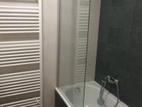 Koupelna s vanou, zástěnou a topným žebříkem. (Prodej bytu 2+kk v osobním vlastnictví 57 m², Praha 5 - Smíchov)