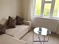 Pohovka + konferenční stolek. (Prodej bytu 2+kk v osobním vlastnictví 57 m², Praha 5 - Smíchov)