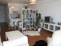 Útulný obývací pokoj s vybavenou, jednoduchou kuchyní. (Prodej bytu 2+kk v osobním vlastnictví 70 m², Praha 9 - Vysočany)