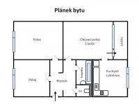 Orientační půdorys dispozičního řešení bytu 3+1/L (Pronájem bytu 3+1 v osobním vlastnictví 65 m², Praha 8 - Kobylisy)