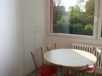 Jídelní stůl s oknem do zelně za domem + úložné prostory. (Pronájem bytu 3+1 v osobním vlastnictví 65 m², Praha 8 - Kobylisy)