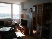 Obývací pokoj s kuchyní. (Prodej bytu 2+kk v osobním vlastnictví 40 m², Praha 8 - Troja)
