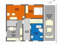 dispoziční schéma 1NP Květnice (Prodej domu v osobním vlastnictví 117 m², Květnice)