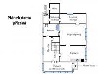 Orientační půdorys dispozice přízemí. (Prodej domu v osobním vlastnictví 190 m², Praha 9 - Hloubětín)