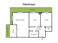 Plánek bytu (Prodej bytu 3+kk v družstevním vlastnictví 75 m², Praha 9 - Hloubětín)