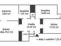 orientační plánek - Prodej bytu 3+1 v osobním vlastnictví 112 m², Praha 2 - Nové Město