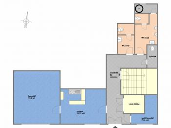 půdorys přízemí - Pronájem kancelářských prostor 294 m², Praha 4 - Modřany