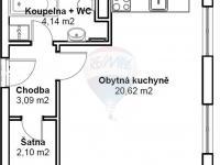 Půdorys - Prodej bytu 1+kk v osobním vlastnictví 30 m², Klecany