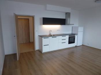 Foto kuchyňské linky s lednicí + oi´pohed do předsíně. - Pronájem bytu 1+kk v osobním vlastnictví 40 m², Praha 9 - Černý Most