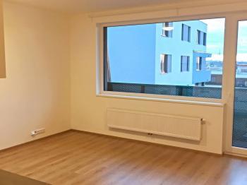 Pohled od vstupníh dveří do hlavní obytné místnosti. - Pronájem bytu 1+kk v osobním vlastnictví 40 m², Praha 9 - Černý Most