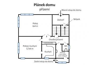 Orientační půdorys přízemí domu. - Pronájem domu v osobním vlastnictví 250 m², Teplice
