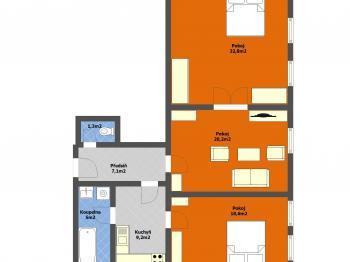 Stávající dispozice bytu - Prodej bytu 3+1 v osobním vlastnictví 100 m², Praha 8 - Karlín