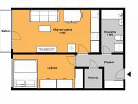 Orientační půdorys s dispozicí bytu. - Pronájem bytu 2+kk v osobním vlastnictví 52 m², Praha 9 - Střížkov