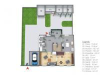 Půdorys 1.NP a pozemku (Prodej domu v osobním vlastnictví 127 m², Kladno)